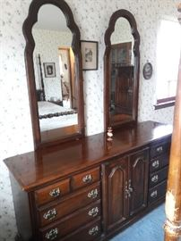 double mirror and dresser