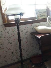 standing converted hurricane lamp
