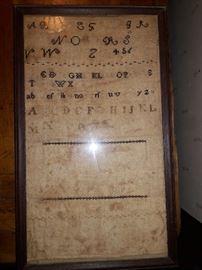 100 year old needle work sampler
