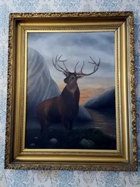 Oil on metal framed painting of deer
