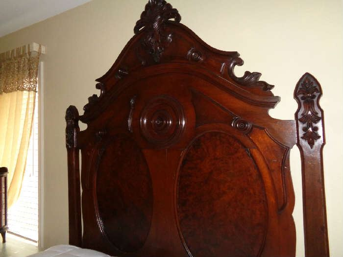high walnut/mahogany bed converted to queen, nice mattress, 1800's attributed to New Orleans furniture maker
