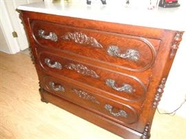 walnut dresser w/marble top, we have the back piece and the mirror