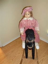 hand painted doll & rocking horse