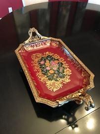 Exquisite Brass & Enamel Vintage Tray
