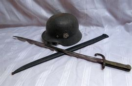 WWII German Helmet & Sword