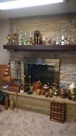 antique lanterns, 48 star flag, brass candlesticks, brass fireplace  tools.