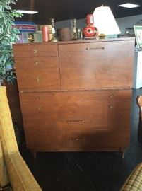 Mid Century Modern 2-Piece Chest with Pull-Out-Secretary on top piece