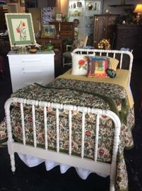 Chalk Painted Antique Twin Bed with 2 Matching Vintage Velvet Trimmed Bedspreads