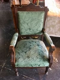 Antique Mahogany Upholstered Chair on Casters