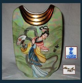 Kaiser Geisha Hand Painted Vase Signed Alice Au