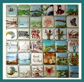 Wonderful Hand Painted 1 Inch Tiles; there are more and some larger. These Beautiful Miniatures are Just Fascinating and all Hand Painted by Alice Au