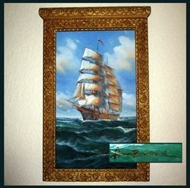 Fantastic Signed Maritime Oil Painting