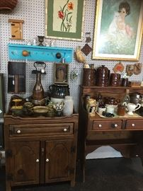 "Two ""Dry Sinks,"" Vintage Crocks, Milk Pitchers, etc."
