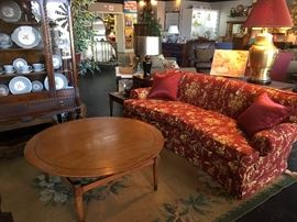 Mid Century Modern Coffee Table and the top TURNS!!!! Curved Red & Gold Sofa in Excellent Condition!