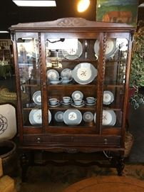 "Beautiful Vintage China Cabinet with Original ""wavy"" glass front."