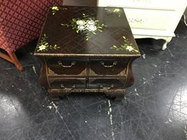 8-Drawer table with brass corners on the drawers, great little piece of furniture!