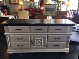 Black & White 8-Drawer Buffet/Dresser, custom painted by Sharon Gretza. You will LOVE this piece!