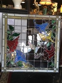 """BEAUTIFUL, Mint, Hummingbird Stained Glass Window (33-1/2"""" square), Custom Made by Chattanooga's own, Eugene Roberts (Art Glass of Chattanooga)"""
