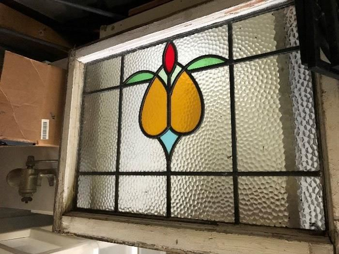 Large Antique Stain Glass Window