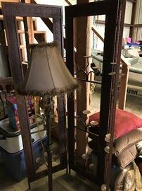 Candelabra 3 Panel Screen and Floor Lamp