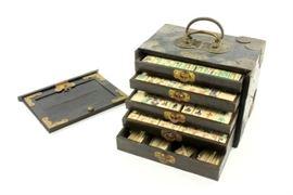 Lot 17: Mahjong Set in Wooden Brass Mounted Case