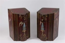 Lot 27: Pair China Red Painted Decorated Knife Boxes