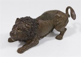 Lot 28: Cold Patinated Bronze Lion Pin Cushion