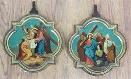 Lot 38: Pair Bronze Handpainted Religious Plaques