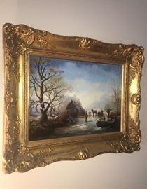 Fine original art Pair Dutch Winter scenes c.1870's