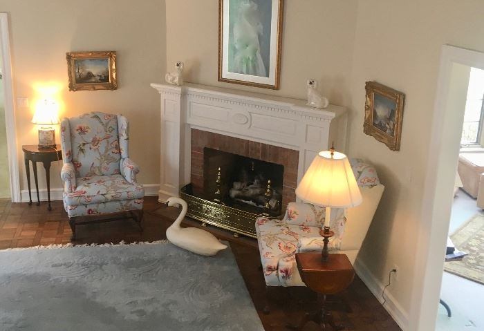 Traditional Wing chairs, coffee & end tables