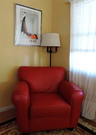Red Armchair and Erte Poster