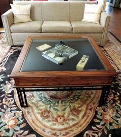 Shadow Box Coffee Table, Upholstered Sofa and Large Area Rug (10' X 14')