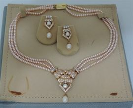 Faux Pearl Triple Necklace and Earrings
