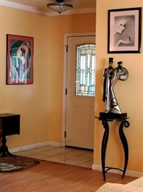"""Austin Sculpture """"The Ritz"""" Art Deco Couple Statue and Wrought Iron Stand , Framed Menu from Galveston Turf Athletic Club Studio Lounge"""