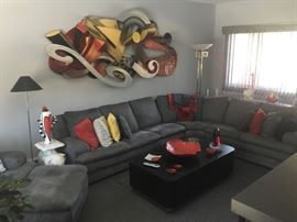 Contemporary sectional & tables