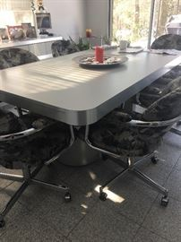 Contemporary dining table & chrome chairs