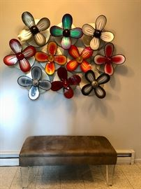Lucite & metal floral wall sculpture & bench by Shlomi Haziza