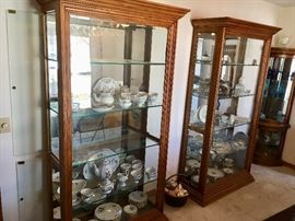 2 contemporary side open display cabinets curios