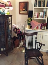Bow front china cabinet, rocker, quilt rack, floor lamp, hen-on-a-nest
