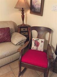 Oak rocker, side table & lamp