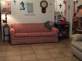 Red check couch, side table & lamp