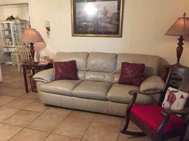 Couch, oak rocker, vintage side table