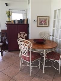 Iron & wood table, 4 chairs; red computer armoire