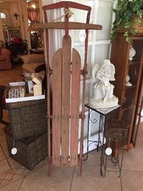 Tall vintage sled, small tables, curio cabinet