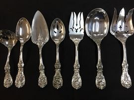 "Reed & Barton ""Francis I"" sterling flatware: gravy spoon, tablespoon, cake server, slotted tablespoon, meat fork, salad set"
