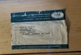 vintage wood Minnesota Mining 3M box paper label