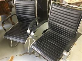 Black leather/chrome midcentury design $325 each