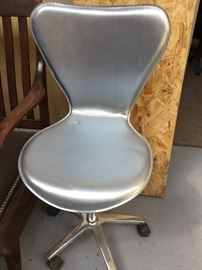 New Leather silver desk chair, adjustable height $75