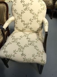Antique newly reupholstered side chair ivy cotton pattern $175.
