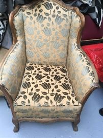 Beautiful antique chenille fabric wing chair $400